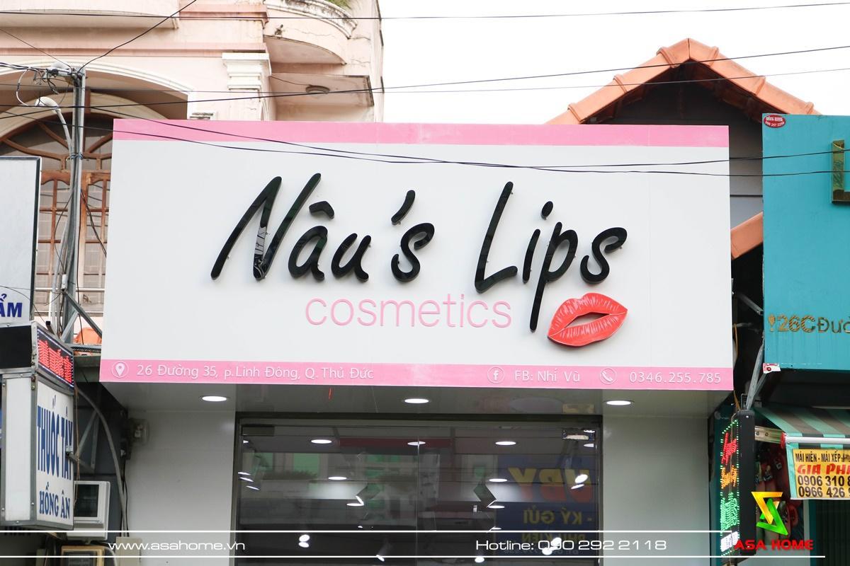 Thiết kế – Thi công shop Mỹ phẩm Nâu's Lips trọn gói giá rẻ